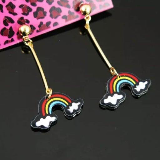 Betsey Johnson Dangle Drop Rainbow earrings