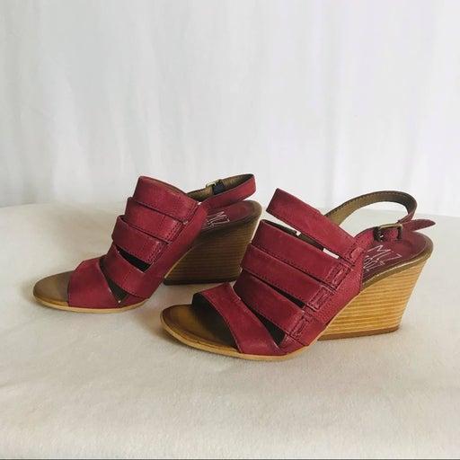 Miz Mooz Maroon Strappy Wedge Heels