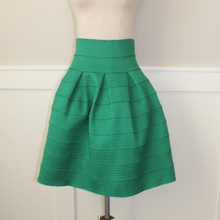 Anthro green stiff full skirt
