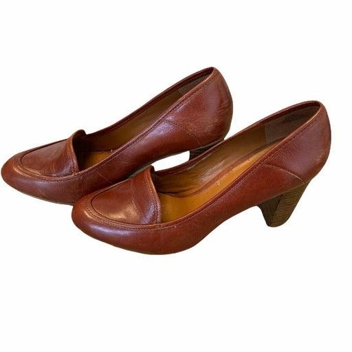 Nine West Womens Brown Leather Almond Toe Slip On Block Heel Pump Shoes