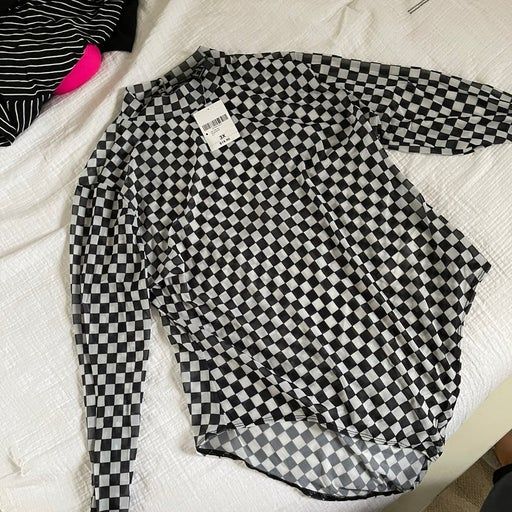 Checkered body suit 3x
