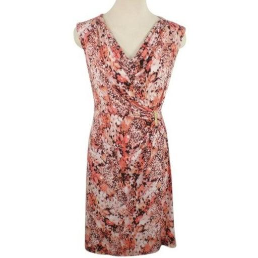 Calvin Klein Multi-color Faux Wrap Peach Stretch Work/Office Dress
