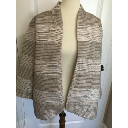 CHICOS 2 Large Women's Blazer Jacket Sequined Tweed Open Front Silver Gold