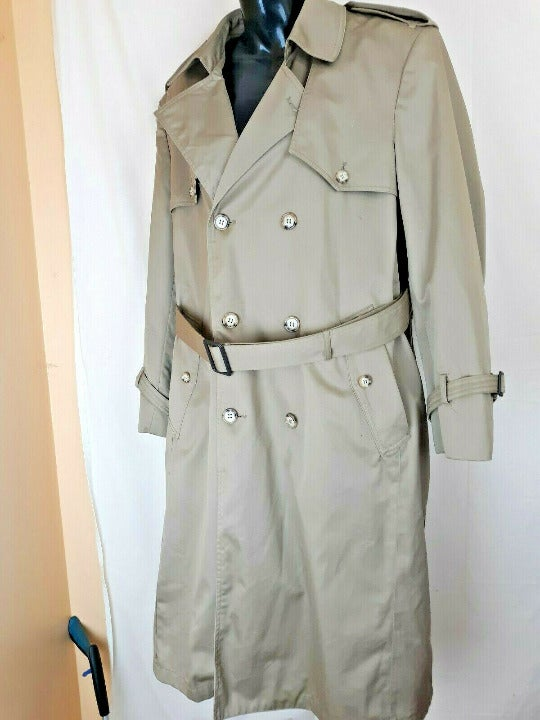 Towncraft Long Trench Coat Sz 38 Reg