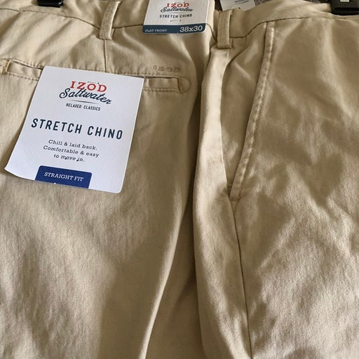 New Izod Saltwater tan chinos. Lost weight so cant use. Perfect condition. Origi