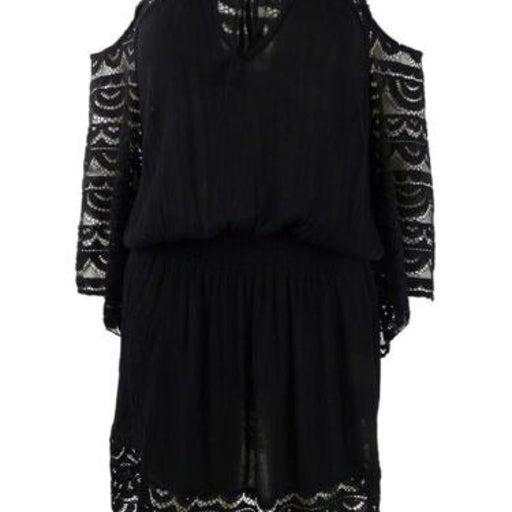 Raviya Plus Size Black Lace Crochet Cold-Shoulder Tunic Cover-Up Sz 1X NWT