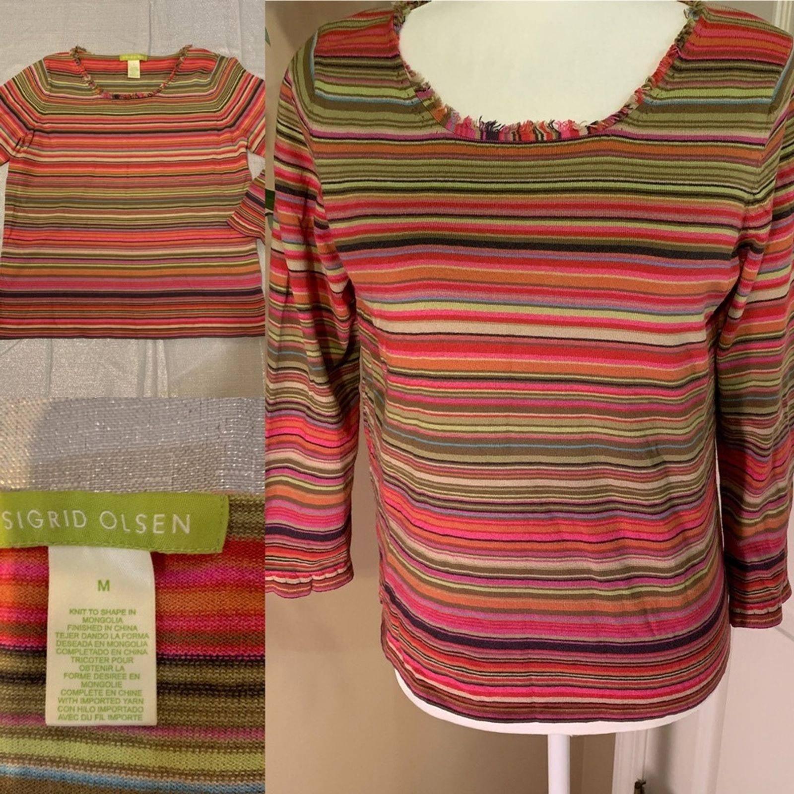 Sigrid Olsen striped sweater top  sz M