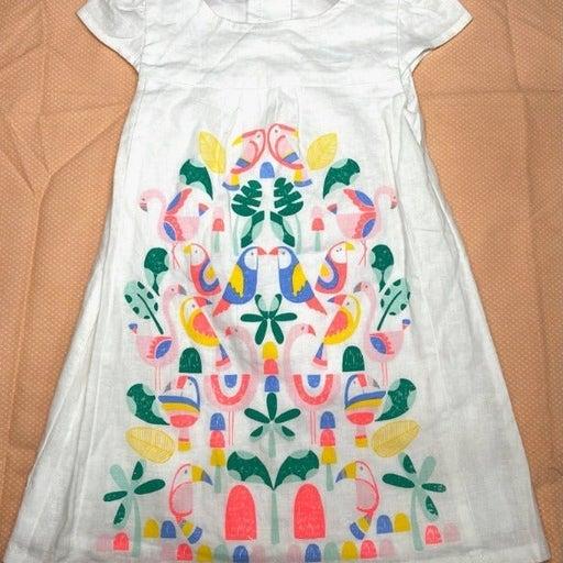 New w/o Tags - Gymboree White Cotton Linen Dress - Neon Bird- 12-18  Months