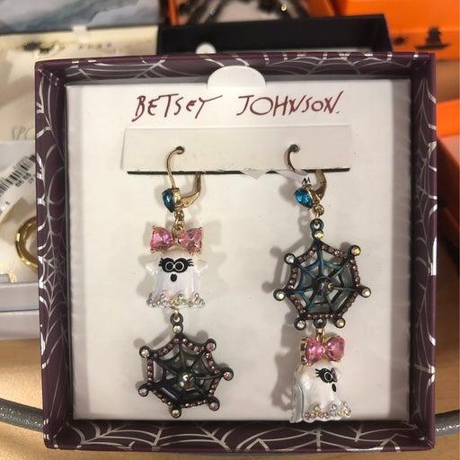 Betsey Johnson Ghost & Spider Web Earrings
