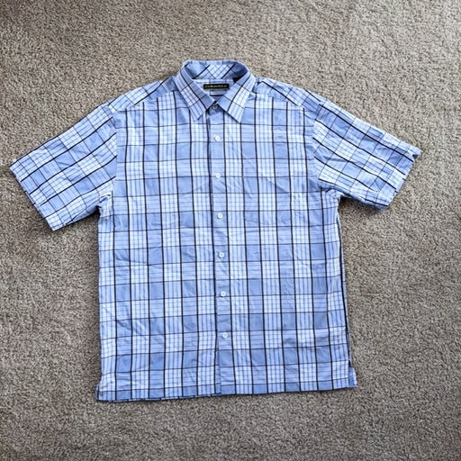 Cubavera Button Up Shirt Mens Large Blue