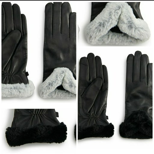 Cuddl Duds Lot of 2 Leather Gloves