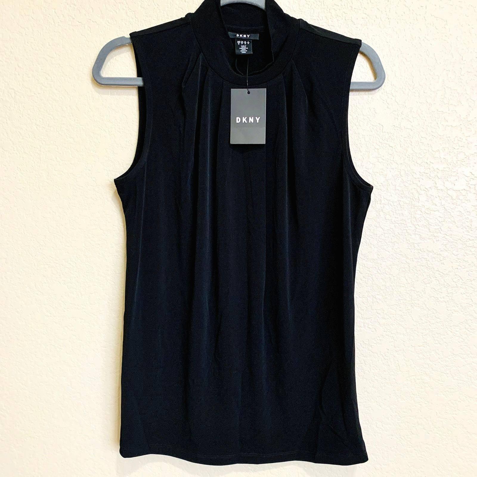 DKNY black sleeveless mock neck blouse