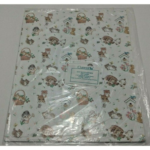 Vintage Itty Bitty Kitties Gift Wrap by Current - 1991, Sealed New in Package