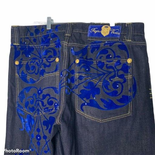 Crown Holder jeans 38 flocked blue mens