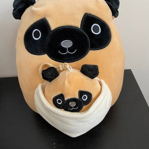 Squishmallow Prince the Pug Mom and Baby