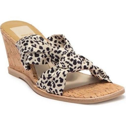 DOLCE VITA Women's Naji Knotted Cork Wedge Mule Leopard Satin 11M