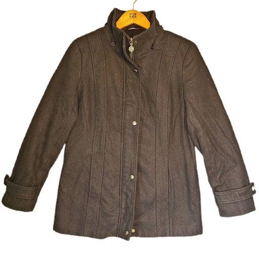 Calvin Klein Funnel Neck Black Wool Coat