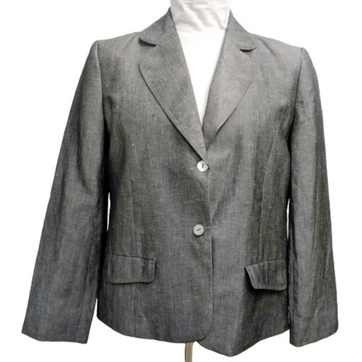 New Chicos Sz 2.5 L 14 Linen Blend Gray Blazer Jacket Lined Montgomery Clayton