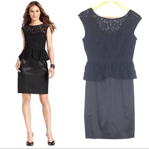 London Times Lace Peplum Satin Sheath Mini Dress Black Size 6