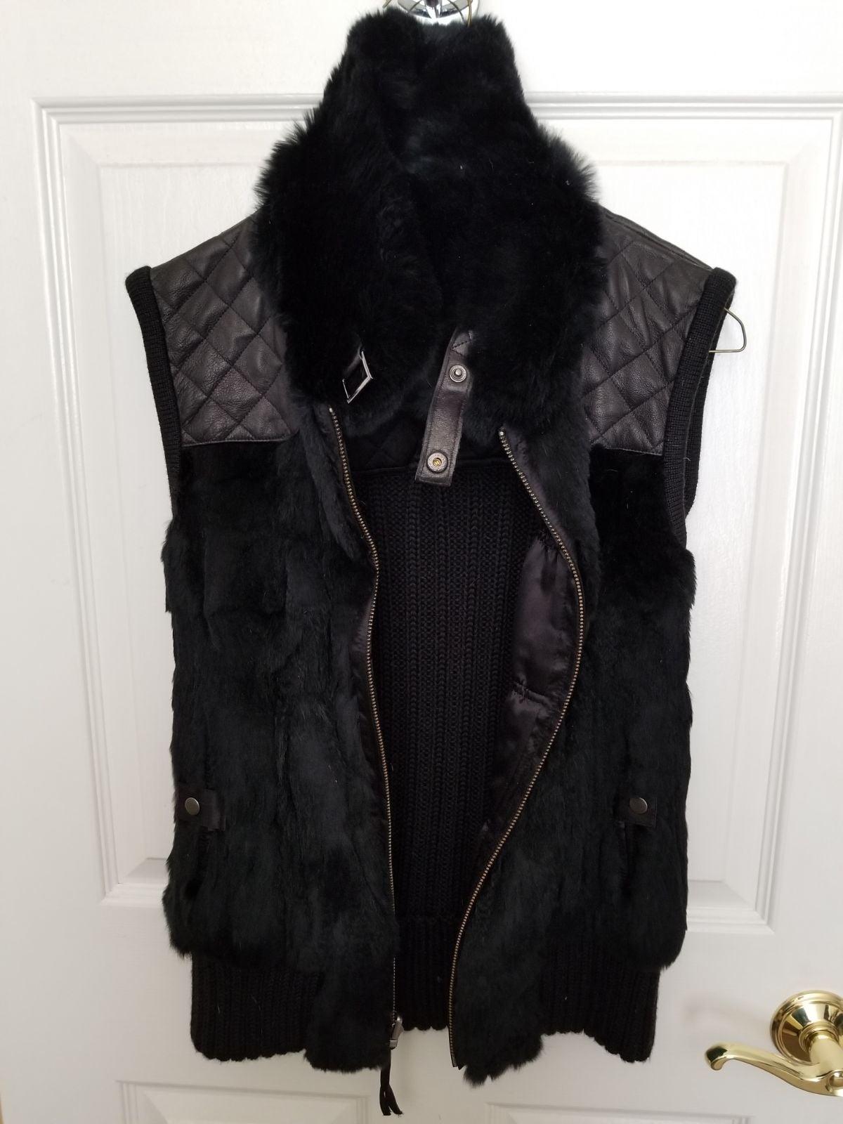 Black Faux Fur/Leather vest size m/l