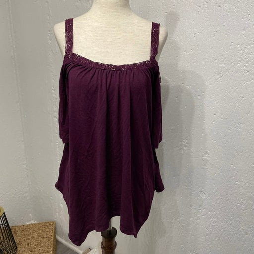 Mudd Cold Shoulder Purple Crochet Top XS