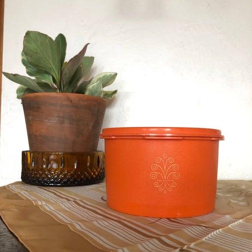 70s Vintage Orange Tupperware Container
