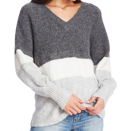 1.State grey marled sparkle mix striped v-neck tunic sweater small MSRP 89