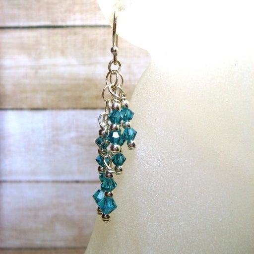 Handmade Blue Swarovski Silver Earrings