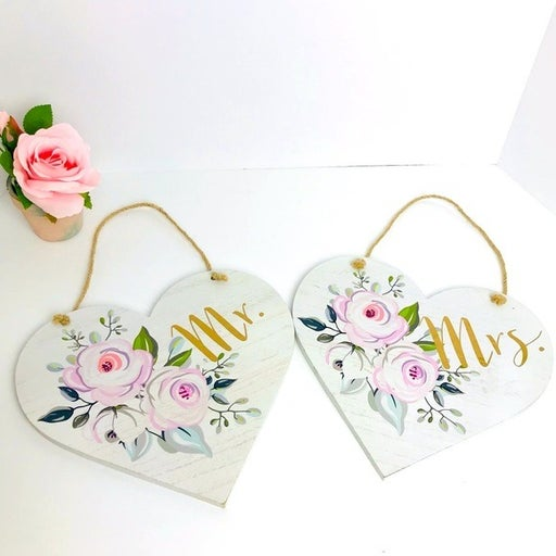 Mr. & Mrs. Wooden Heart floral wedding hanging signs decor