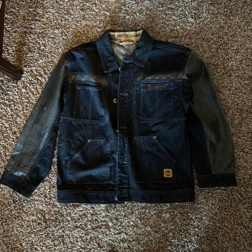 Men's Timberland black denim and PU leather jacket size S