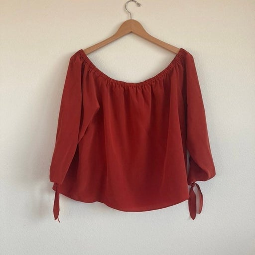 Madewell silk off the shoulder top