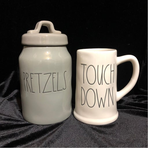 Rae Dunn Touch Down Beer Stein & Pretzel Canister