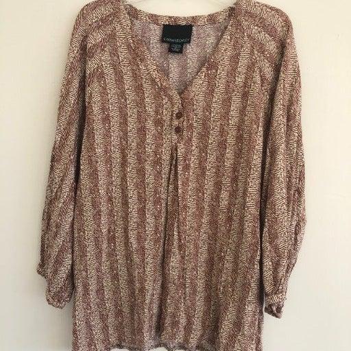 Anthropologie Cynthia Rowley Brown White Stripe Blouse Button Long Sleeve Large