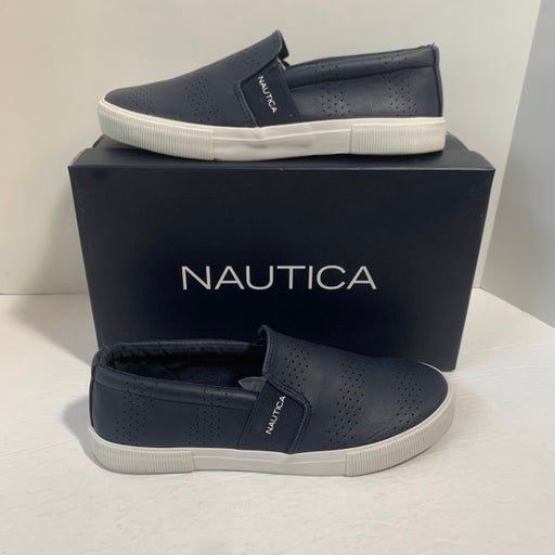 Nautica Conway navy faux leather slip-on sneakers, 8