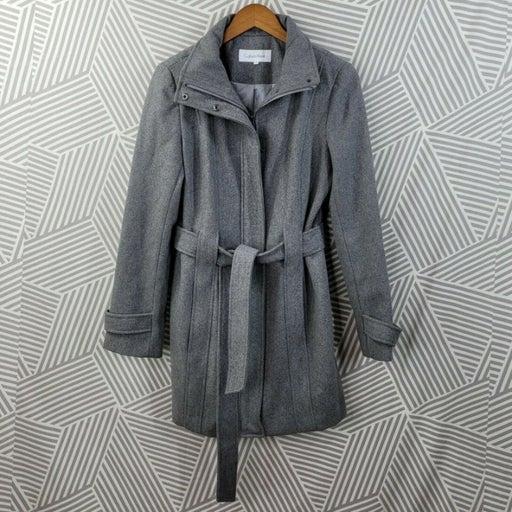 Calvin Klein Wool Coat Peacoat Size 8 Jacket Winter Career Belted Zip Up Gray