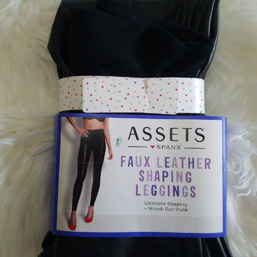 ASSETS SPANX Women's All Over Faux Leather shaping Leggings BLACK soft comfort