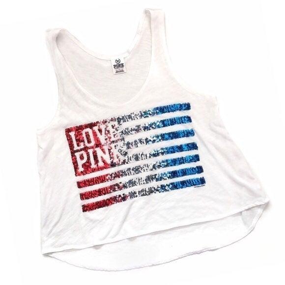 Love PINK USA Flag Sequin White tank
