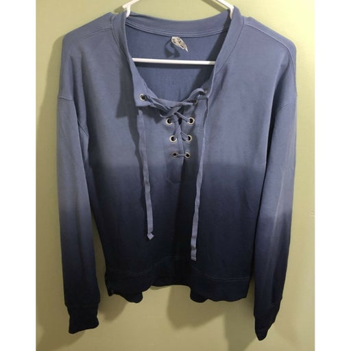 Mudd Women's Long Sleeve Ombre Shirt 1/4 Tie Up Blue Size Small