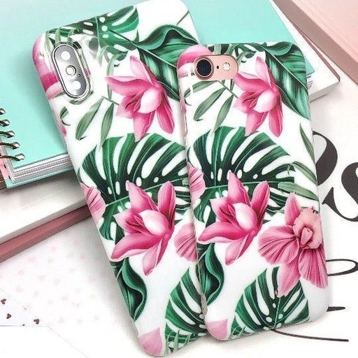NEW iPhone 7P/8P Pink Floral Leaf Case