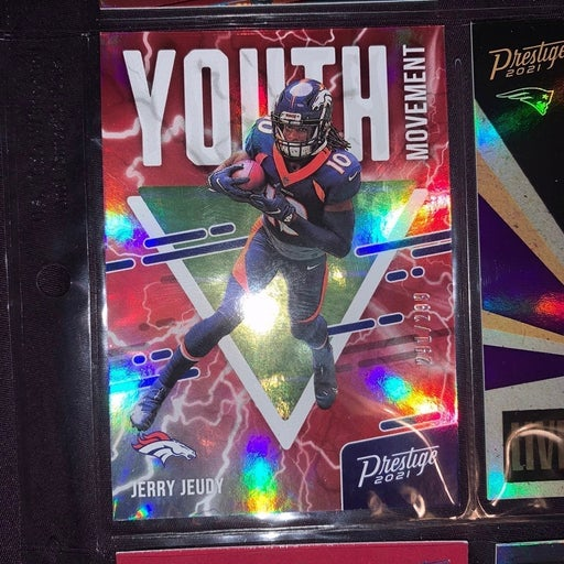 2021 Prestige Jerry Jeudy YOUTH MOVEMENT 291/299 Red Refractor SP #YM-13