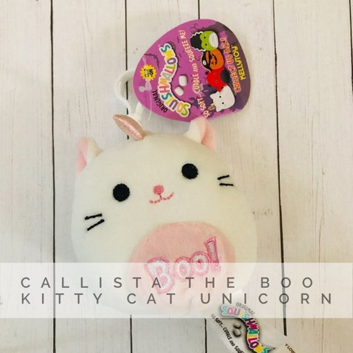Callista the Boo Kitty Cat Unicorn Squishmallow ☠️ Plush Toy Keychain Clip