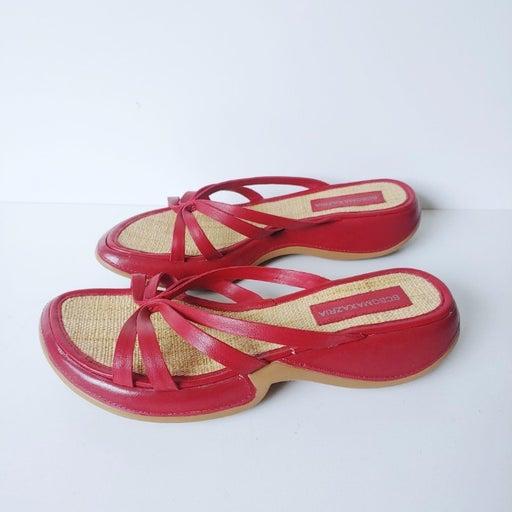 BCBGMaxAzria Leather Strap Red Y2K Sandals 7B Platform Open Toe