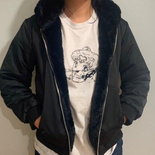 2 Reversable Fur lined bomber jacket  NWT