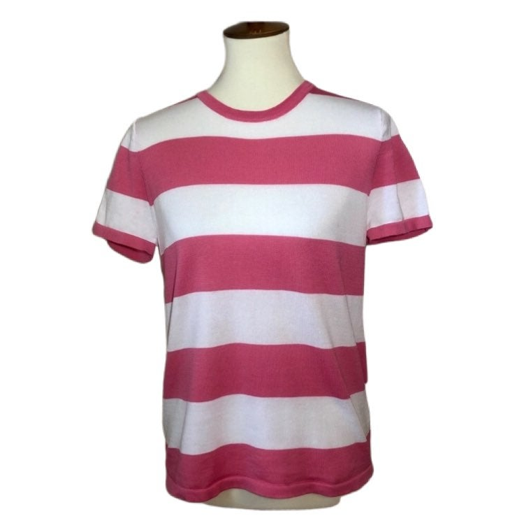 Anne Klein Pink & White Striped Knit Top