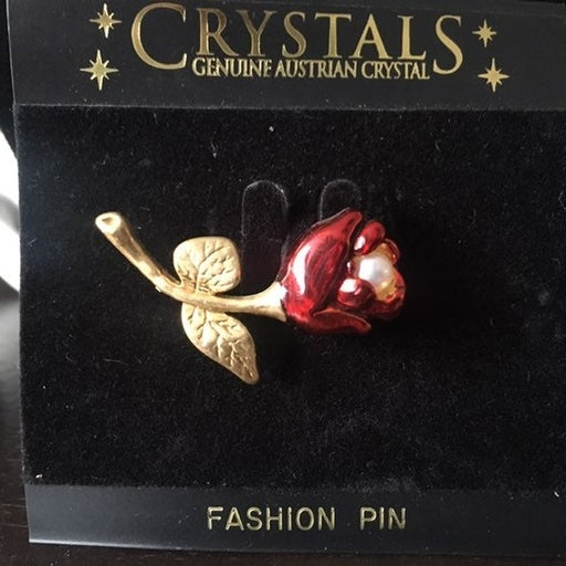 Geniune Austrian Crystal Rose Pin