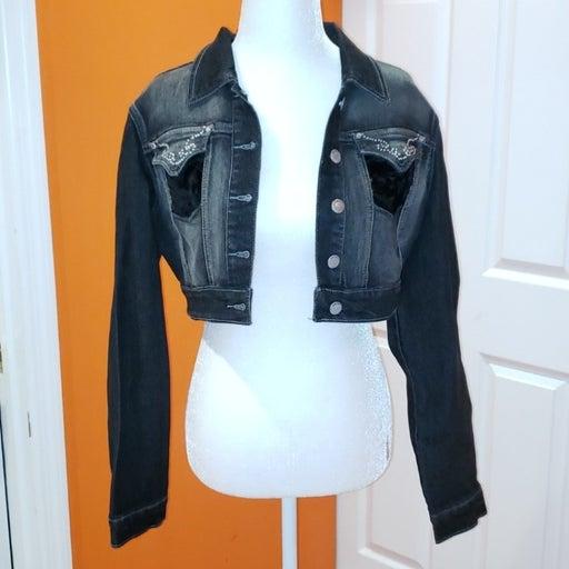 Crest black embellished cropped jacket
