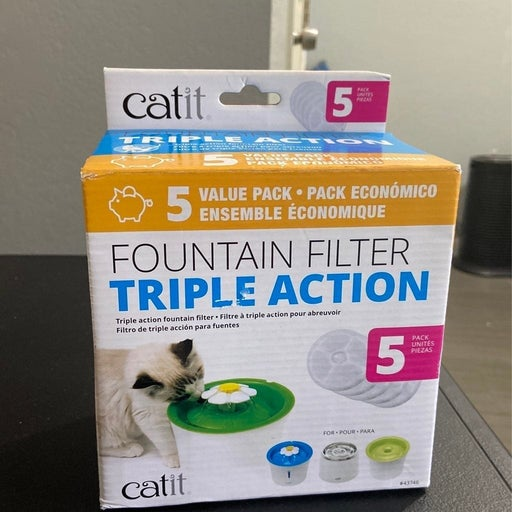 Catit Cat Water Fountain Replacement Filters, Triple Action Filters for Flower 5