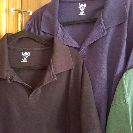 2 Lee 3XL Men's Short Sleeve Polo Shirts