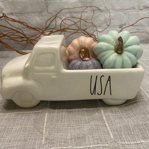 Rae Dunn fall truck with pumpkins