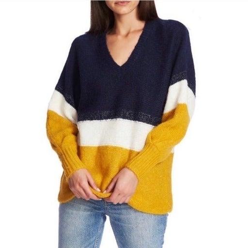 1 State Colorblock V Neck Sweater Golden Hour Sunset Stripe Oversized New